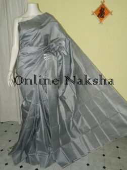 Plain Grey Sonamukhi Silk Sarees Without Border