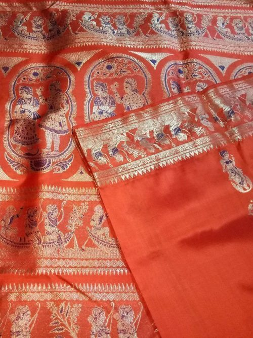 Orange Bridal Swarnachari Silk Saree