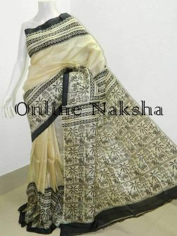 Hand Block Printed Saree in Pure Silk
