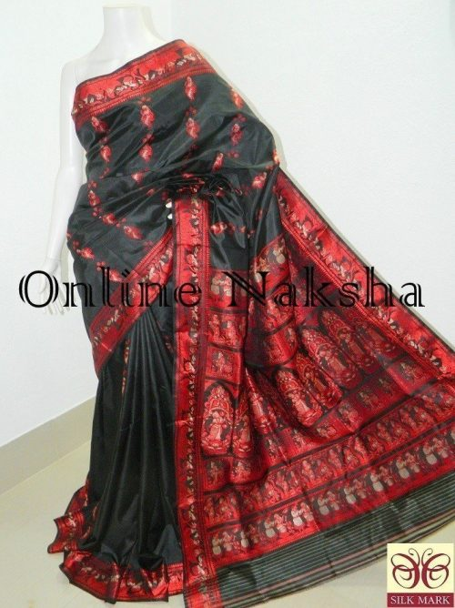 Black Bishnupuri Baluchari Silk Saree