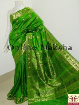Green Bridal Silk Swarnachari Saree