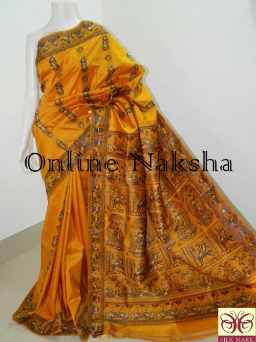 Yellow Baluchari Pure Silk Saree Online