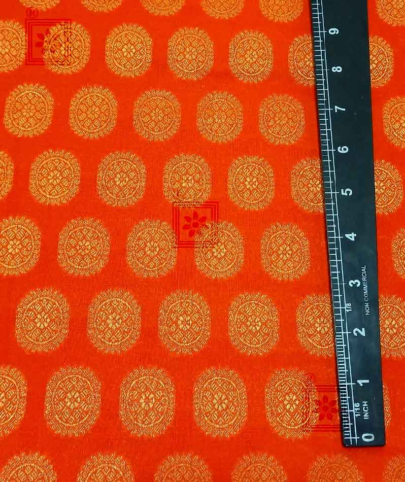 Orange Cotton Fabric With All Over Golden Round Work For Blouse Of 2021