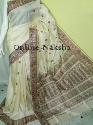White Baluchari Silk
