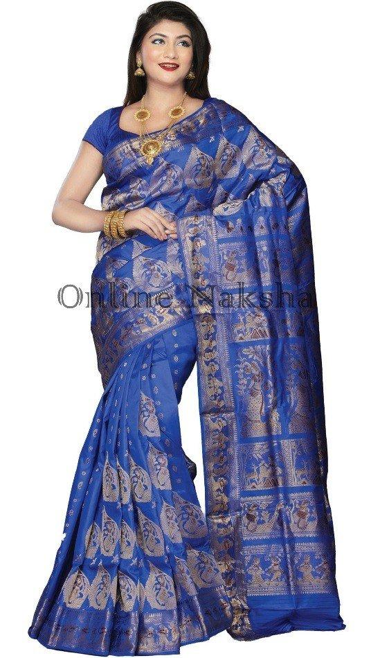 Blue Swarnachari Saree