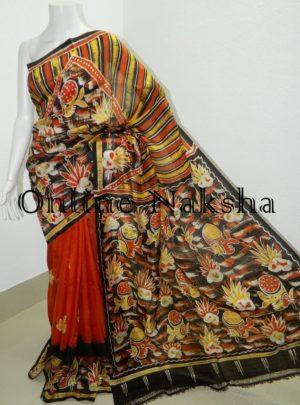 Bishnupuri Batik Silk Sari