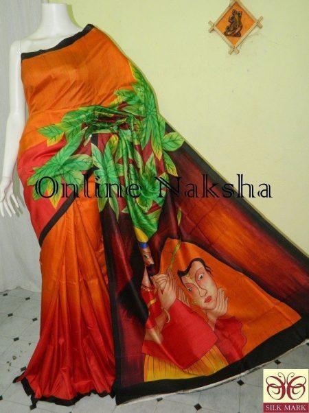 Acid Painted Sonamukhi Silk