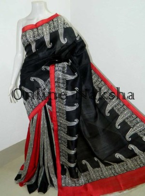 Bishnupuri Silk Printed Black Saree