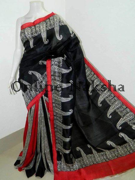 Bishnupuri Silk Printed Black Saree