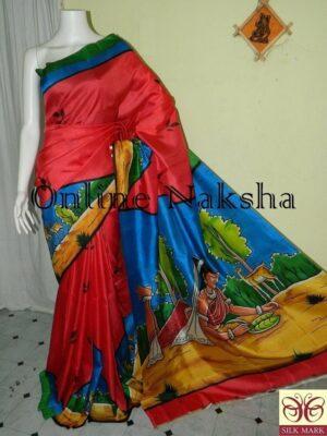 Hand Painting Silk Saree