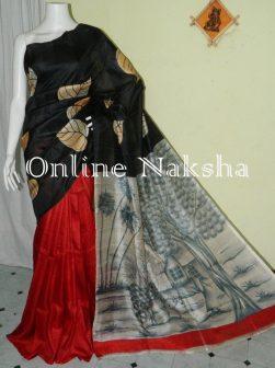 Acid Paint Silk Sari