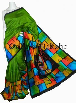 Handpainted Pure Silk Sari