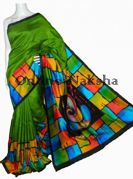 Handpainted Pure Silk Sari