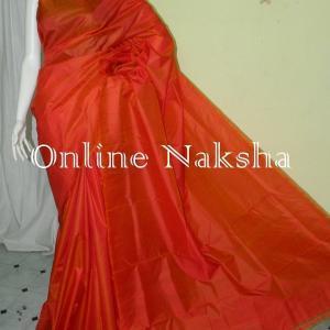 3249 Orange Pure Silk Sari