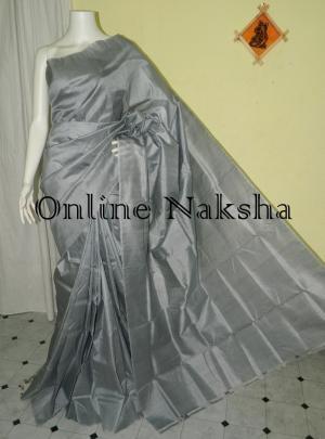 Plain Grey Sonamukhi Silk Sarees Without Border