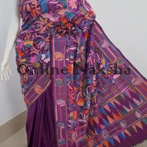3295 Trendy Kantha Stitch Pure Silk Saree