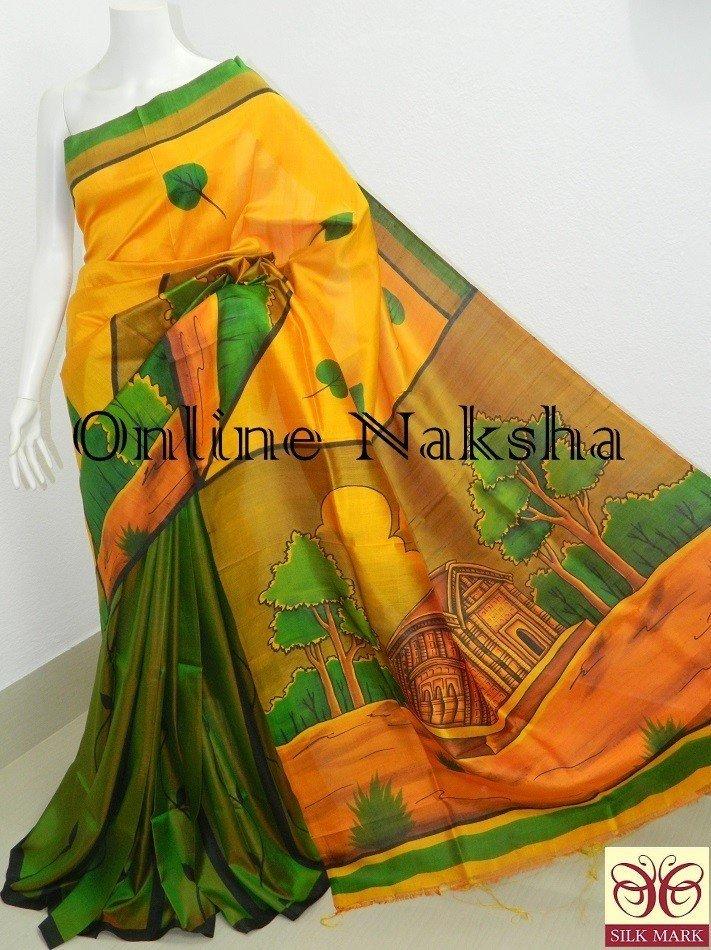 e57af0e6f0 Handpainted Pure Silk Sari | OnlineNaksha