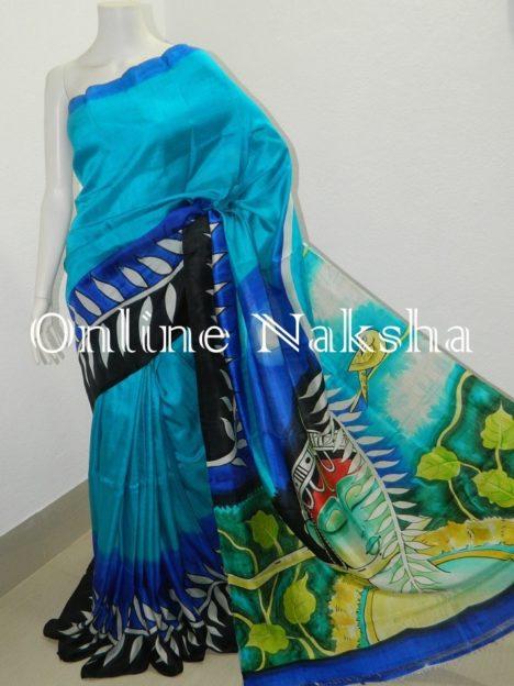 Painting Pure Silk Saree