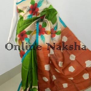 Latest Handpainted Silk Saree