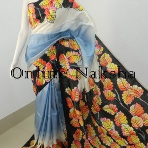 3844 Latest Acid Painted Silk Saree