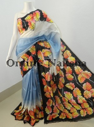 Acid Painted Silk Saree