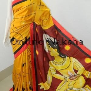 3846 Handpainted Silk Saree Online