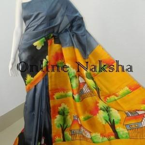 3849 Acid Painted Pure Silk Sari