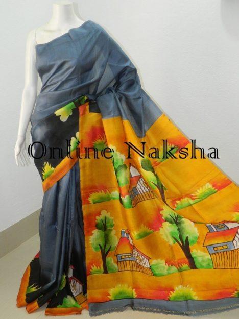 AcidPainted Pure Silk Sari
