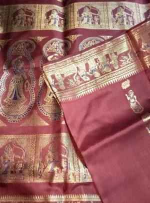 Bishnupuri Swarnachari Pure Silk Saree