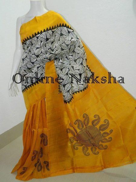 Block Printed Pure Silk Saree
