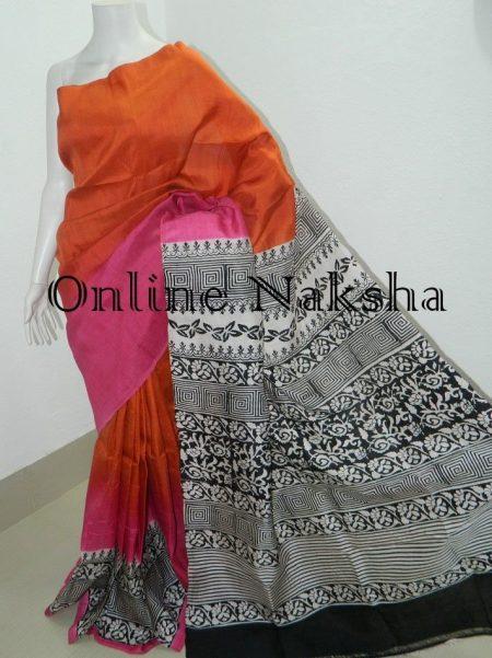 Pure Silk Block Print Saree
