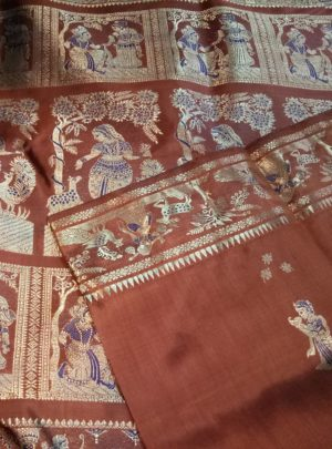 Rust Swarnachari Silk Saree