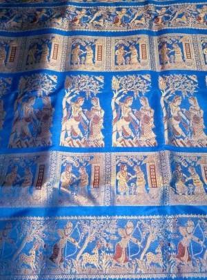 Blue Bridal Swarnachari Sari