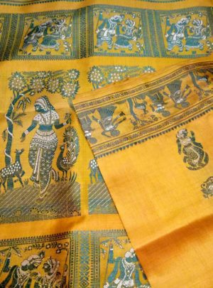 Yellow Baluchari Silk Saree