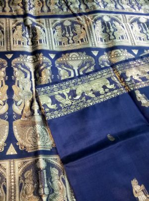 Navy Blue Swarnachari Saree