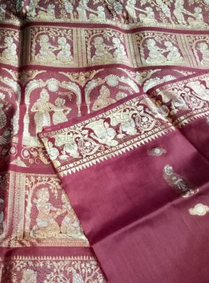 Traditional Maroon Swarnachari Silk Sari