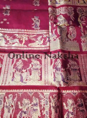 Traditional Maroon Swarnachari Silk Sari