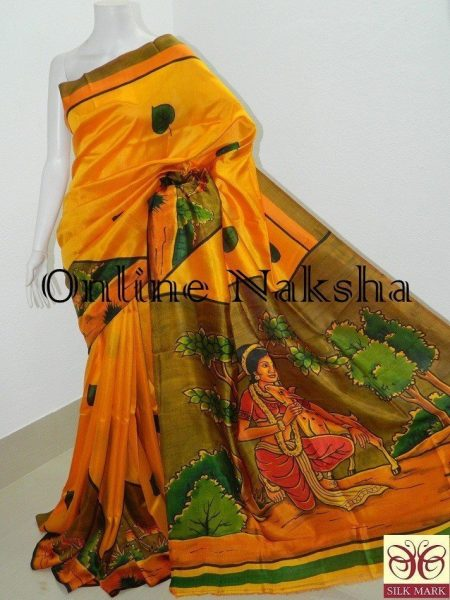 Handpainted Handloom Silk Saree