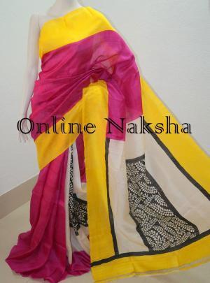 Block Printed Pure Silk Sari