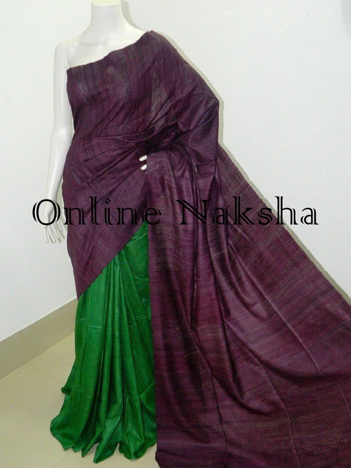 Dyed Ghicha Tussar Saree