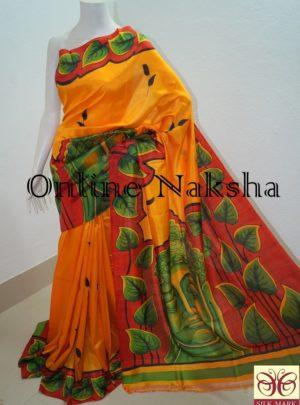 Handpainted Designer Pure Silk Sari