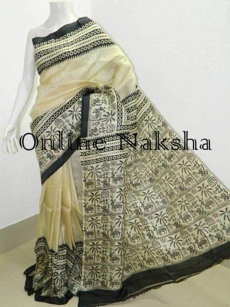 Hand Block Printed Saree in Pure Silk