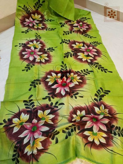 Floral Handpainted Pure Silk Saree Online