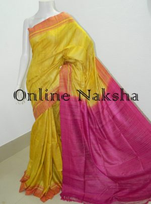 Latest Yellow Ghicha Sarees Online