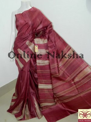 Maroon Tussaar Silk Saree Online