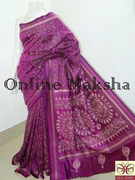 Purple Kantha Embroidery Saree