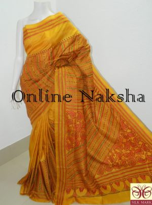 Yellow Hand Embroidery Saree Online