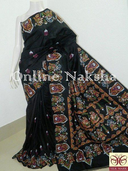 Black Patachitra Silk Saree