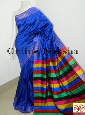 Royal Blue Handloom Pure Silk Sari