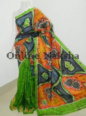 Handloom Batik Pure Silk Sari